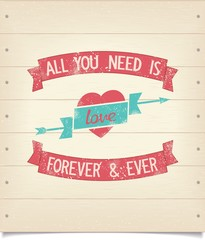 All you need is love vintage american design quotes with ribbons. Vector eps8