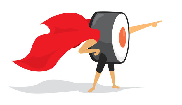 Sushi roll super hero with cape pointing forward