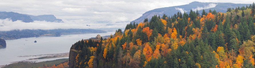 Crown Point at Columbia River Gorge in Fall