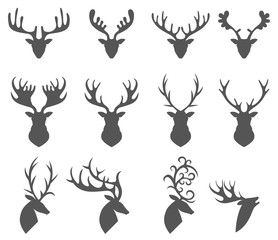 Set of a deer head silhouette on white background