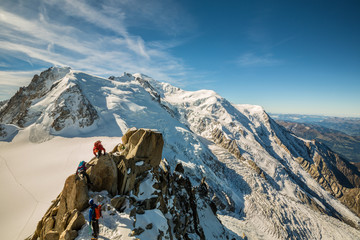 Spoed Fotobehang Alpinisme alpinismes au massif du mont blanc