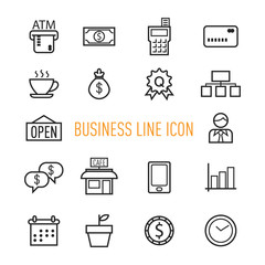 set of business line icon isolated on white background