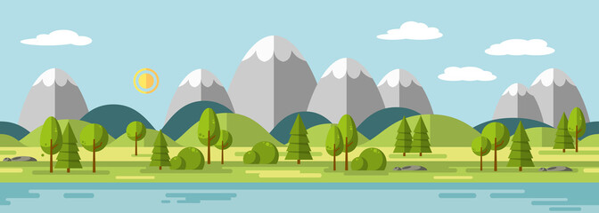 Wall Mural - Landscape with mountains, also usable as a continuous panorama