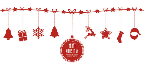 christmas elements hanging line red isolated background