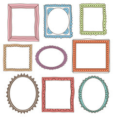 set of colorful vintage photo frame in doodle style