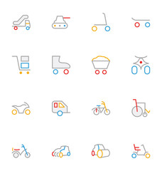 Transport Colored Outline Vector Icons 5