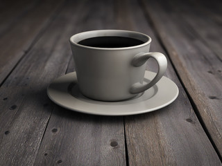 Cup of coffee on the old wooden boards