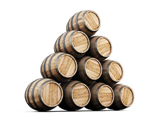 Stack of barrels isolated on white background.