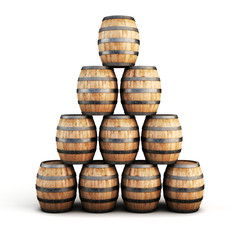 Stack of wooden barrels