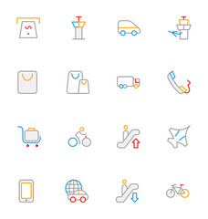 Travel Colored Outline Vector Icons 9
