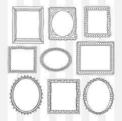 set of vintage photo frame in doodle style