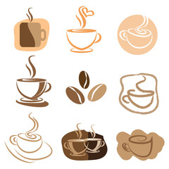 Coffee logo design elements set