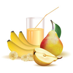 glass with juice and straw, bananas and slice of banana, pear with leaf and half of pear on a white background