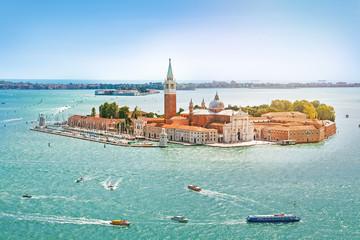 Panoramic aerial view at San Giorgio Maggiore island, Venice, Veneto, Italy