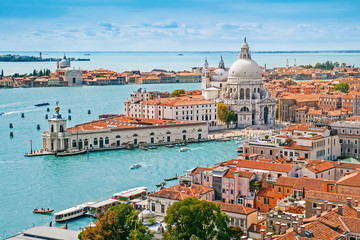 Door stickers Venice Panoramic aerial cityscape of Venice with Santa Maria della Salute church, Veneto, Italy