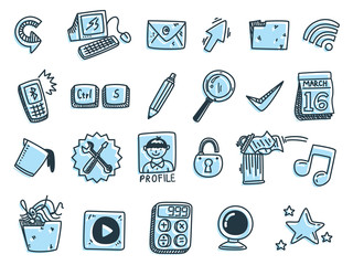 set of icon related to desktop computer