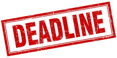 deadline red square grunge stamp on white