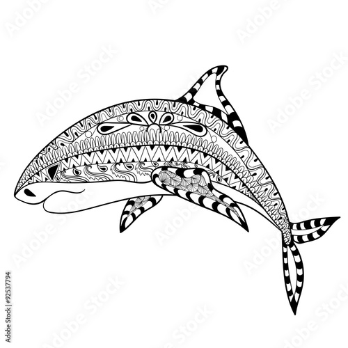 """""""zentangle shark totem for adult anti stress coloring page"""