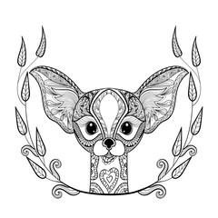 Zentangle desert Fox head totem in frame for adult anti stress Co