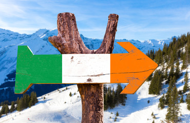 Ireland flag wooden sign with winter background