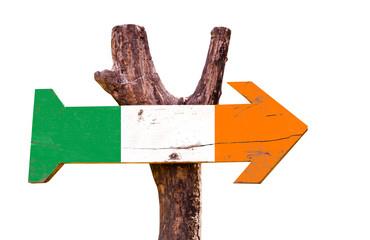 Ireland flag wooden sign isolated on white background