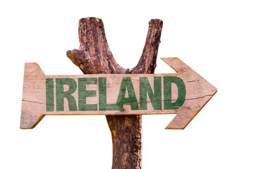 Ireland wooden sign isolated on white background