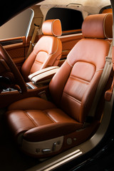 Leather car seat close up photo