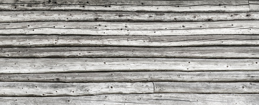 Old wooden logs wall