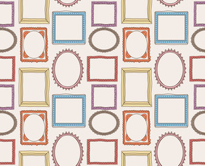 colorful vintage photo frame pattern in doodle style