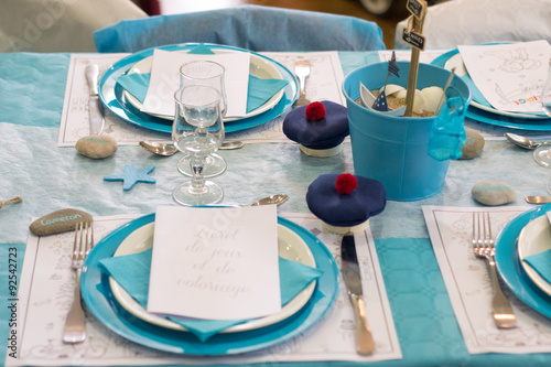Deco De Table Mariage Bleu Turquoise Stock Photo And Royalty Free