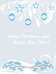 Decorative Christmas background. Vintage design for a greeting card