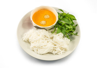 Thai vermicelli eaten with curry