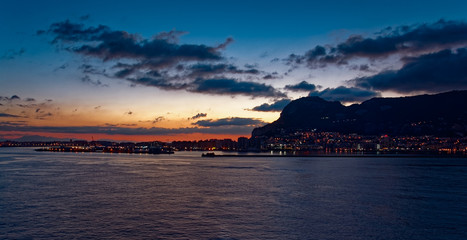 Gibraltar at sunrise from the bay