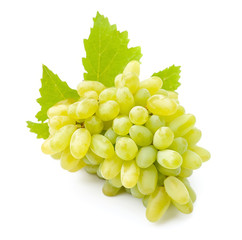 Ripe grapes with leaves close up on white background .