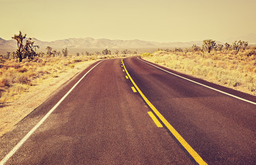 Retro old film style USA endless country highway, travel adventu