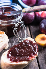 Homemade organic plum marmelade
