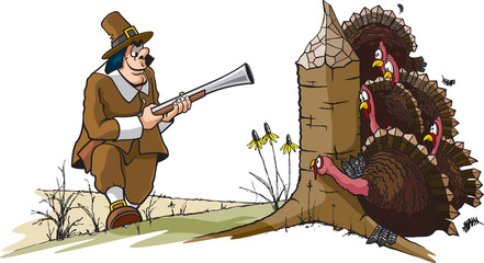 A cartoon of a Pilgrim hunting Turkeys. Layered vector and high resolution jpeg files available.