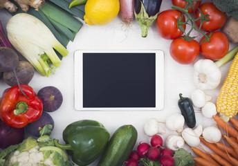 Healthy vegetables tablet hero header