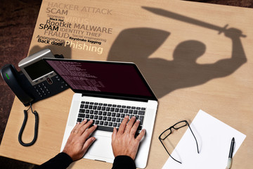 computer hacker attempt to identity theft and cyber fraud versus antivirus software shield
