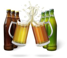 Two mugs with ale, light or dark beer. Mug with beer. Green bottle of beer. Brown bottle of beer. Vector