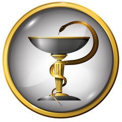 Symbol of medicine snake metal gold and silver