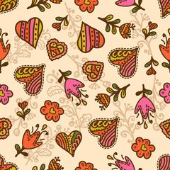 seamless pattern hearts and flowers
