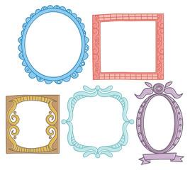 set of colorful frame doodle
