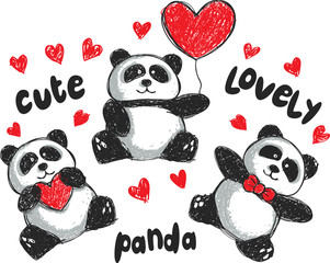 set of panda cartoon in doodle style