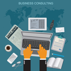 business consulting, flat vector illustration, apps, banner