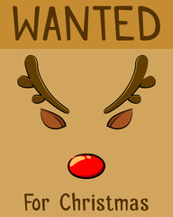 Red Nose Reindeer Wanted For Christmas Poster