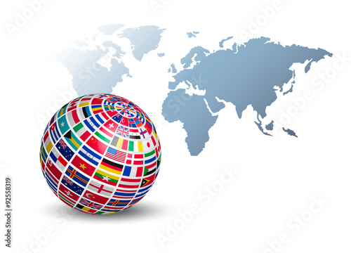 Globe made out of flags on a world map background vector stock globe made out of flags on a world map background vector gumiabroncs Image collections