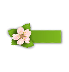 Special Offer Sticker with Flower, Isolated on White Background