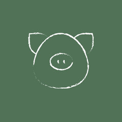 Pig head icon drawn in chalk.