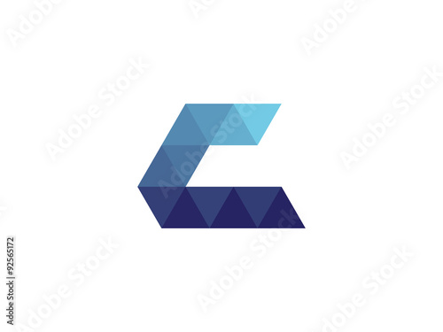 quotc letter blue triangle geometric logoquot stock image and